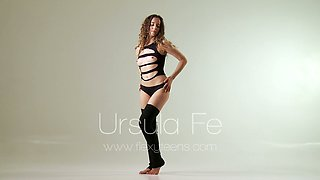 Flexible dancing babe Ursula Fe shows off her smooth pussy in different positions