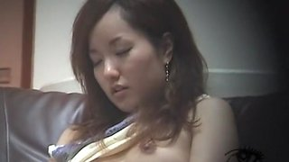 Asian slut with small globes masturbates in her bathroom