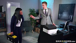 MILF tries hard sex at the office with the new guy
