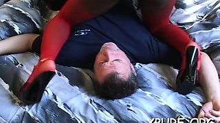 Powerless lad gets smothered and dominated by a beauty