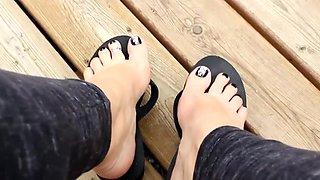 Hot Black Flip Flop Wedge Dangle Sexy Pedi