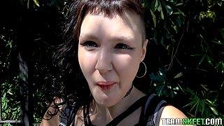 Tattooed and pierced Luna Rubin devours cock and a cum shot