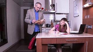 Innocent schoolgirl is teased and poked by older schoolteach
