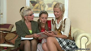 Blonde Teens Have A Lesbian Threesome With A Mature Blonde