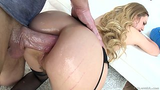 Anal-insane blond babe Lyra Law is chocked by huge aggressive dong