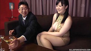 Busty Japanese MILF Mikoto Yatsuka spreads her legs to be fucked
