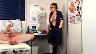 Clothed nurse humiliates naked guy