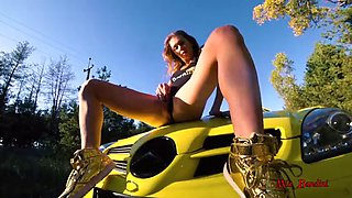 Fitness amateur couple has public sex on car . mia bandini