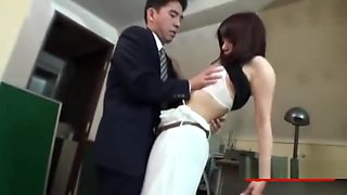 Busty Secretary Getting Her Tits Rubbed Giving Blowjob On Her Knees Cum To