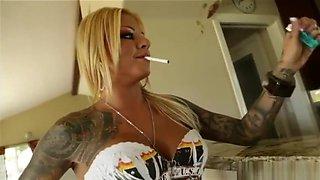 smoking hot blonde with tattoos