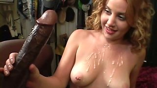 Cherry Poppens gets scared, when she sees that monster cock