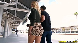 Busty blonde Vanessa Cage knows how to ride a fat dick properly