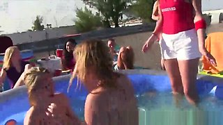 College wrestling in the pool on university roof