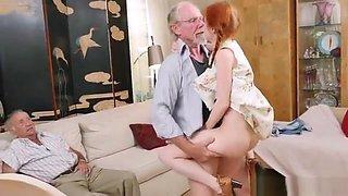 Dolly Little in Teenage Redhead Tease Sucks Old Man Cock, HD