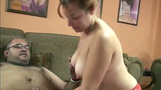 Chubby mature lady with round butt rides hard dick