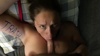 MILF Whore gets face ridden fucked sharpie marker abused load blasted H/TX