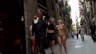 Naked Euro slave walked in public