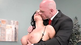 Secretary with big milkings in stockings right in the office fucking w...