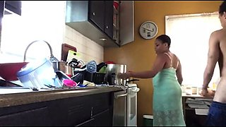 Curvy ebony wife getting drilled doggystyle in the kitchen