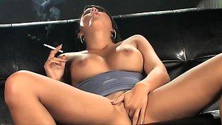 Sasha Cane - All White 120's Stunning Smoking Masturbation