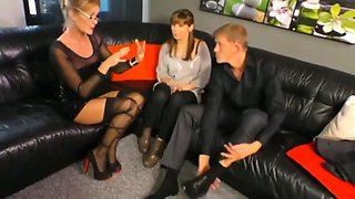 Mature milf teaches young couple how to fuck hard
