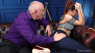 Old fart helps his stepdaughter get over a breakup by fucking her