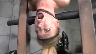 Upside down girl trapped in blowjob machine