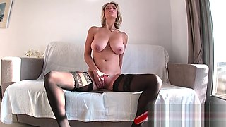 Blonde milf in stockings with big tits www.redpillgirl.su
