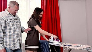 Old Goes Young - Cutie gets spicy ironing lesson