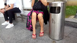 Perfect granny sexy upskirt sexy feets toes
