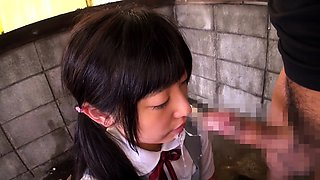 Pretty Japanese teen in white panties gives a nice blowjob