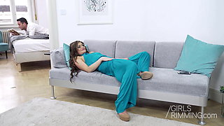 Glasses beauty Sara Sultry giving an anal rimjob