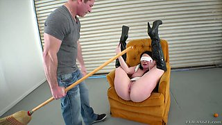 Blind folded bitch Veruca James is fucked with broom and big aggressive dick