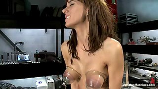 horny brunette's thrilled to play with machines