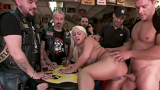 Bound busty slave offered to a biker gang by her mistress