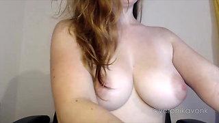 Amazing big boobs brunette te fingering juicy pussy
