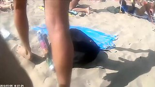 Group of French nudists have some kinky fun at a beach of Cap d'Agde