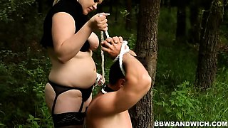 Strap-on anal fucking in the forest with 2 gorgeous BBWs