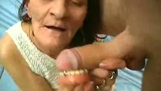 Old granny is horny for big white hard young dick