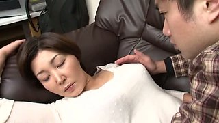 Sleepy Japanese girl stripped