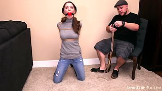 Chrissy marie tied up in turtle neck