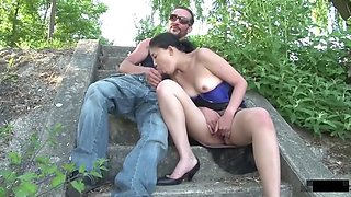 Cute Asian Christine gets deepthroated outdoor by William