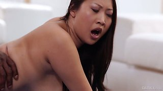 Busty and hot Asian cowgirl Sharon Lee rides fat long BBC after giving titjob