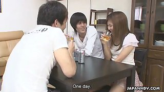 Guy gets his friend drunk and fuck his wife hitomi okubo (uncensored, engsub)