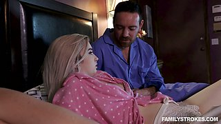 Lustful teen Lexi Lore seduces stepdad and bangs him in front of sleeping mom