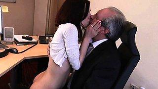 I am a young secretary seducing my boss at work office