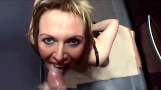 French mature sucks cock and swallows cum