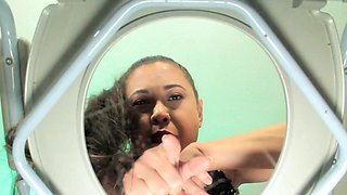 Busty femdom teases toiletsub with pussy
