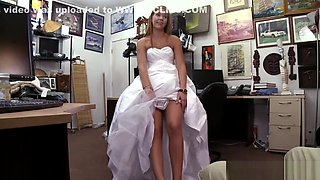 Beautiful and horny bride fucks in the office in doggystyle
