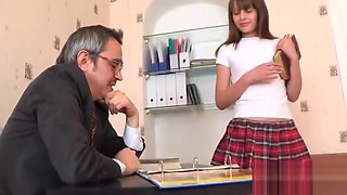 Innocent bookworm gets teased and drilled by older teacher